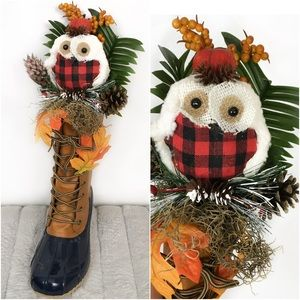 Fall bouquet in duck boot artistic quirky decor